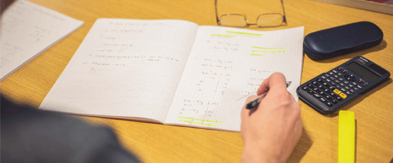 Maths equipment and book