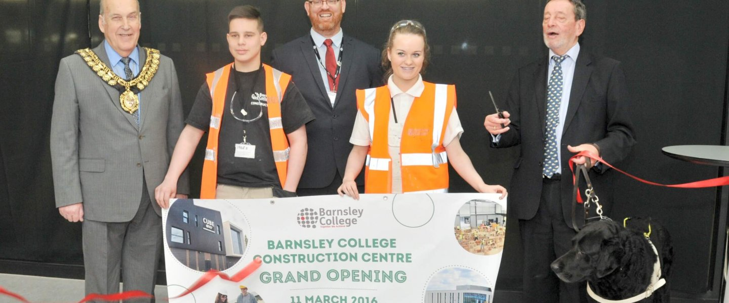 L-R The Worshipful the Mayor of Barnsley, Councillor Brian Mathers; Construction student, Alfie Robson; Principal of Barnsley College, Christopher Webb; Construction student, Jessica Heath; and Lord David Blunkett.