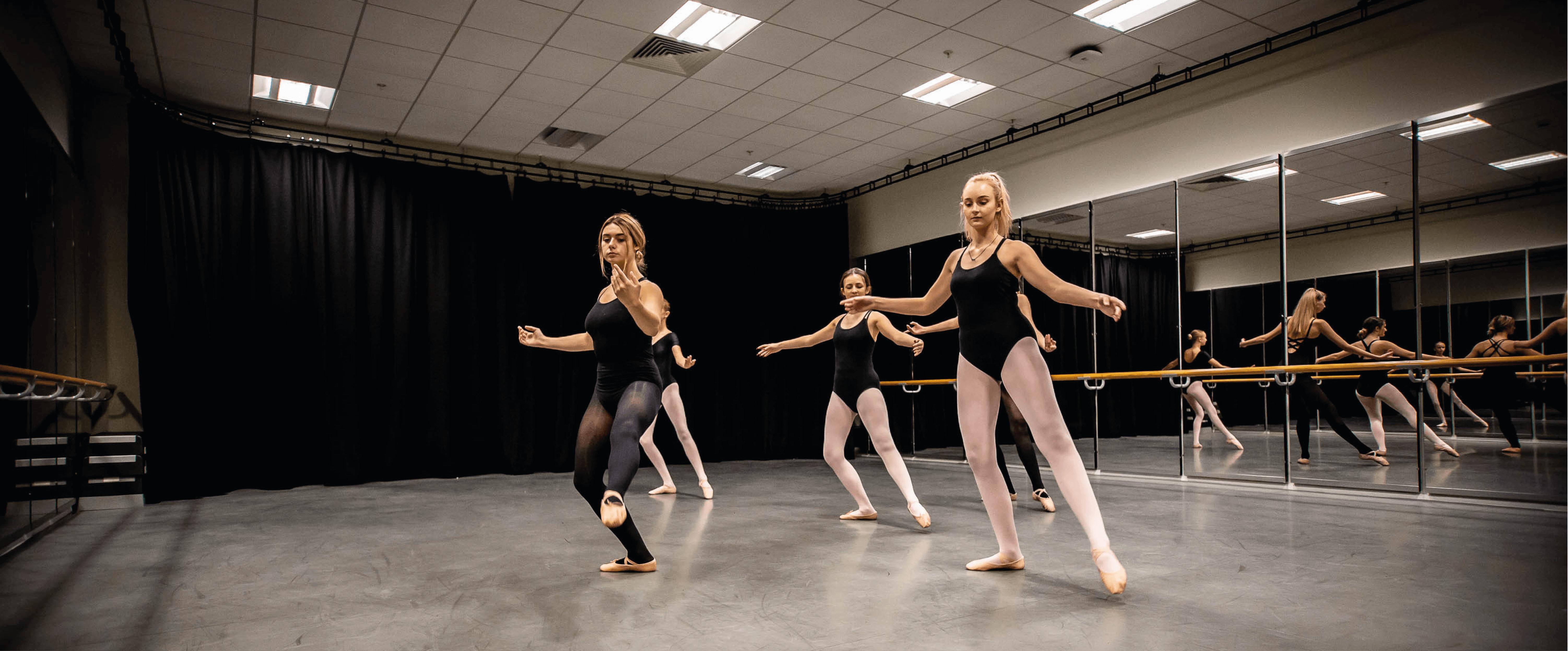 Students ballet practice