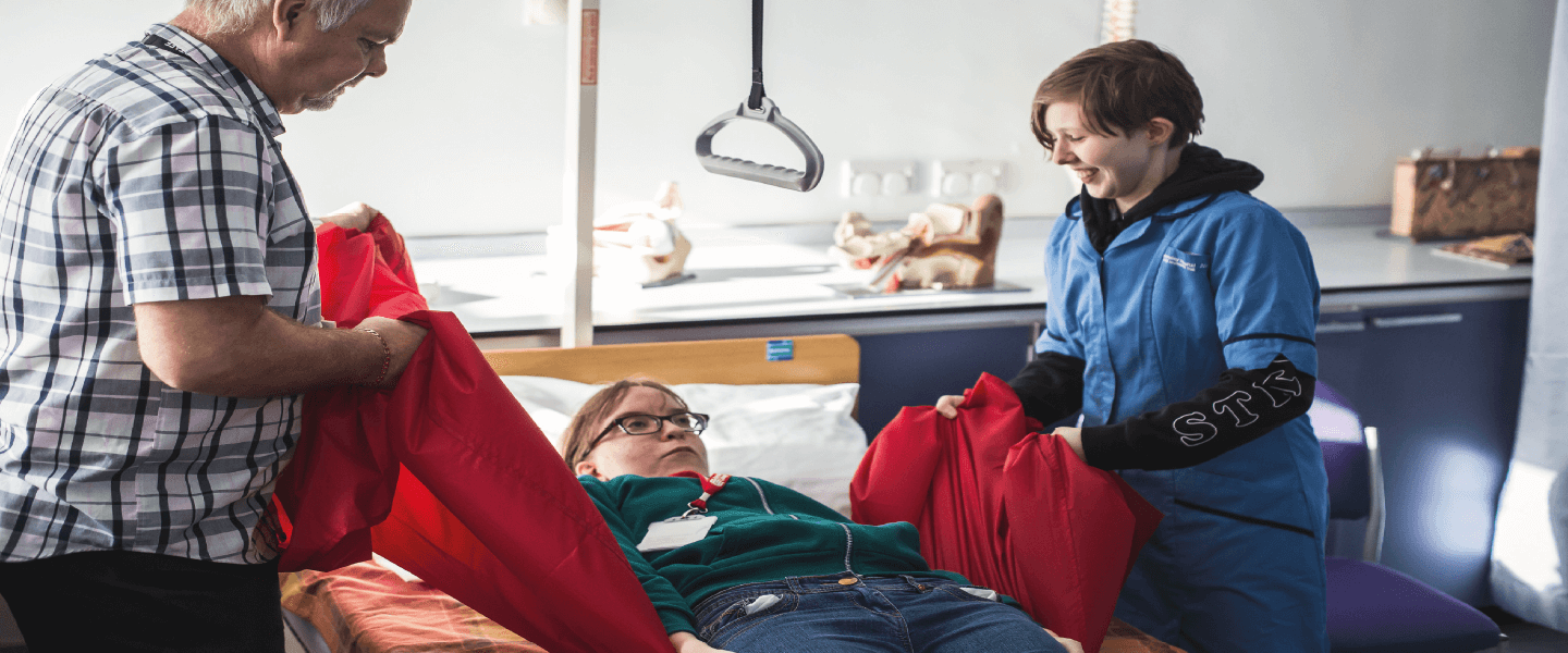 Students caring for patient