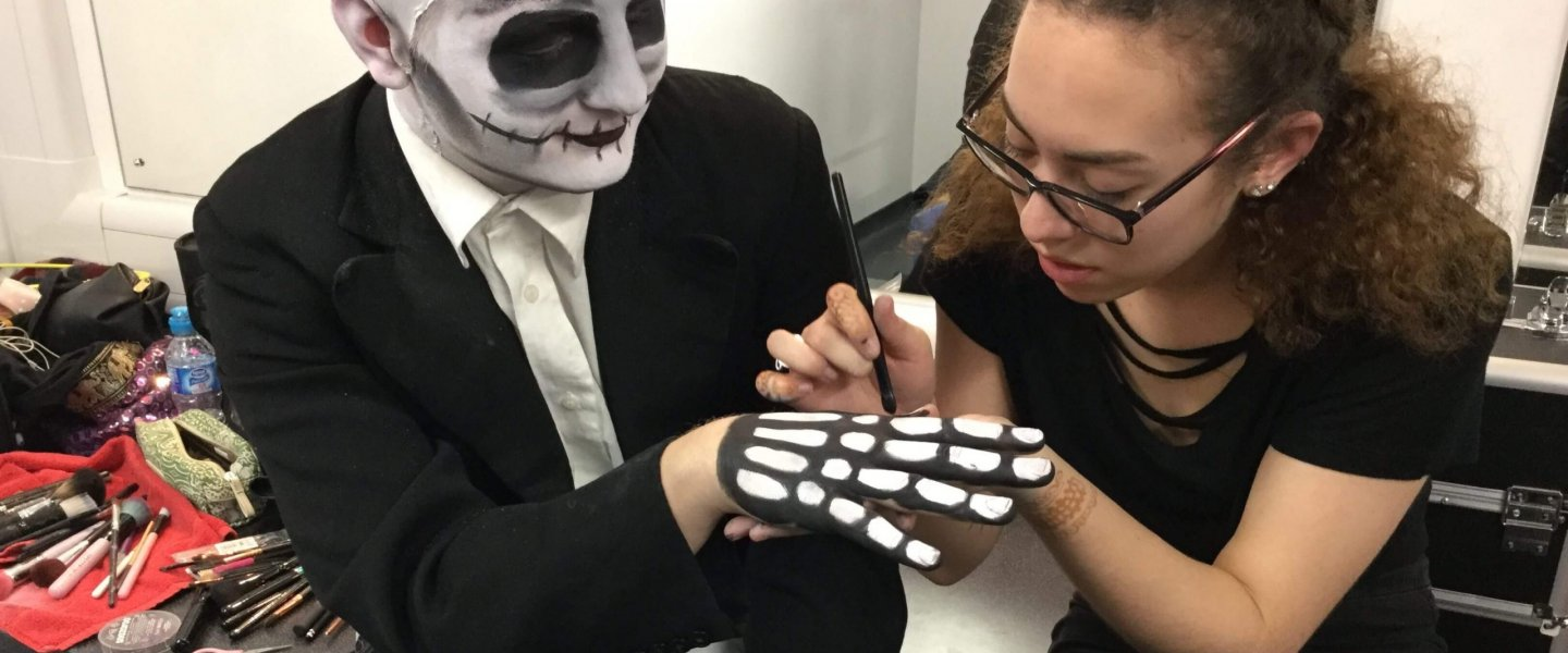Barnsley College Performing Arts Student Jordan Tapp with Make-up Artistry Student Alex Robinson.