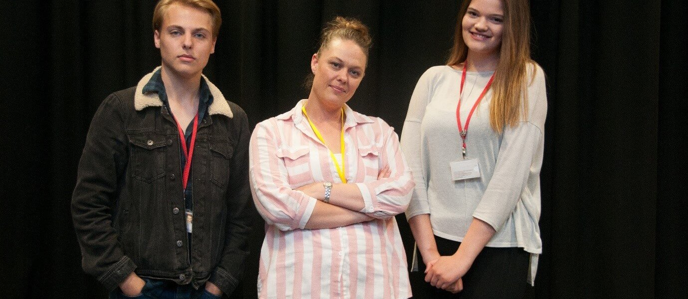 Barnsley College Performing Arts students with actress Louise Atkins