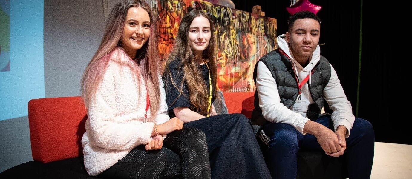 Barnsley College students Milena Dabrowska and Kurtis Gill with Artist Jenny Beard