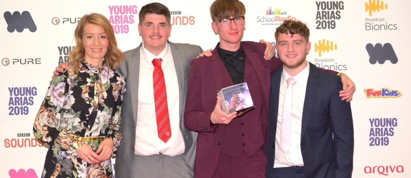 The Offside Rule podcast and talkRADIO presenter Kait Borsay with students (L-R) Kyle Walker, Karl Wellbelove and Matty Hugill at the awards.