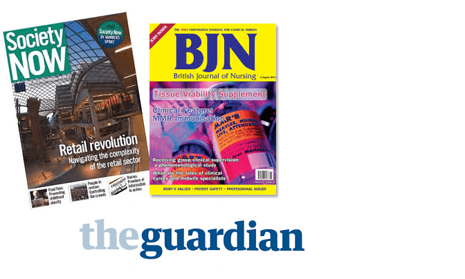 The Guardian Society Now and British Journal of Nursing (this last at the Learning Curve