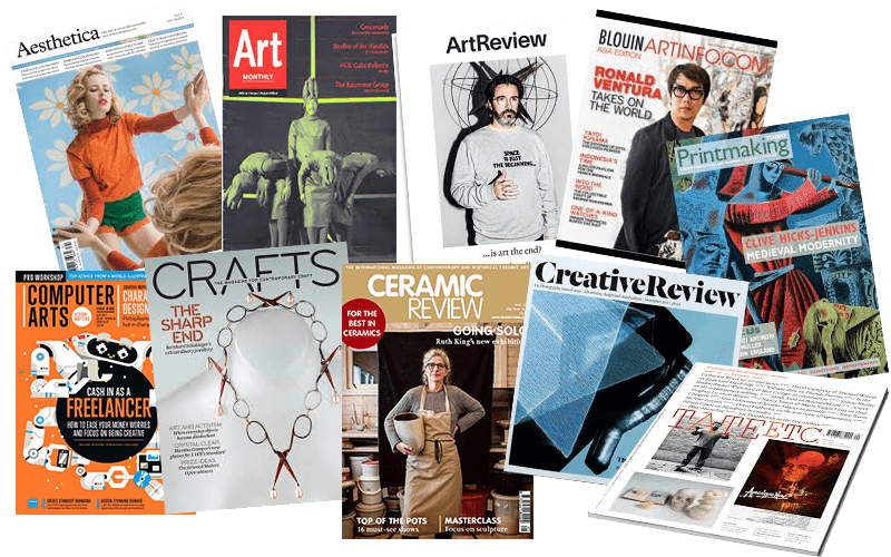 Aesthetica Art Monthly ArtReview Ceramic Review Crafts Computer Arts Creative Review Modernpainters Printmaking Today Tate ETC