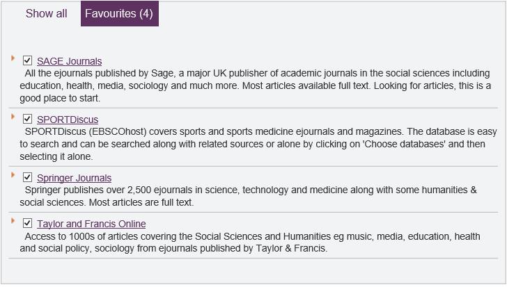 Sage Journals SPORTdiscus Springer Journals Taylor and Francis Online
