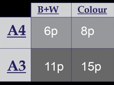 Printing prices A4 B&W 6p Colour 8p  A3 B&W 11p Colour 15p