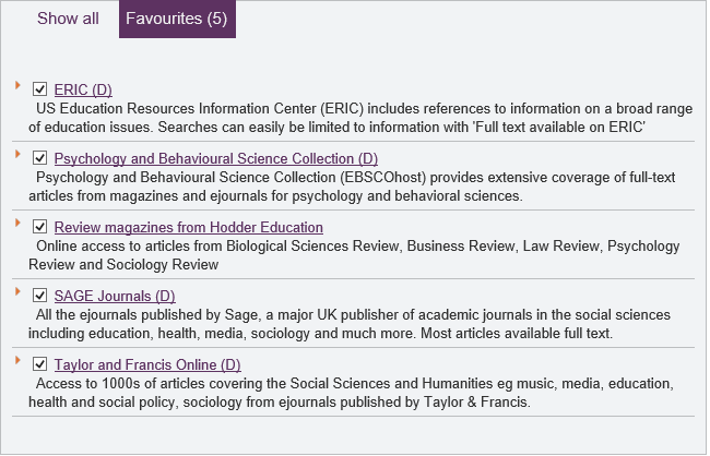 ERIC Psychological and Behavioural Science Collection Review magazines from Hodder Education Sage Journals Taylor & Francis Online