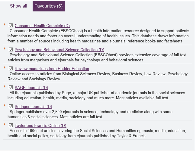 Consumer Health Complete Psychology and Behavioural Science Collection Review magazines from Hodder Education sage Journals Springer Journals Taylor and Francis