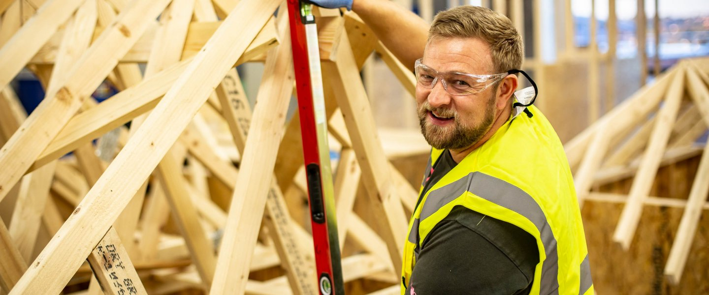A Barnsley College student in Construction
