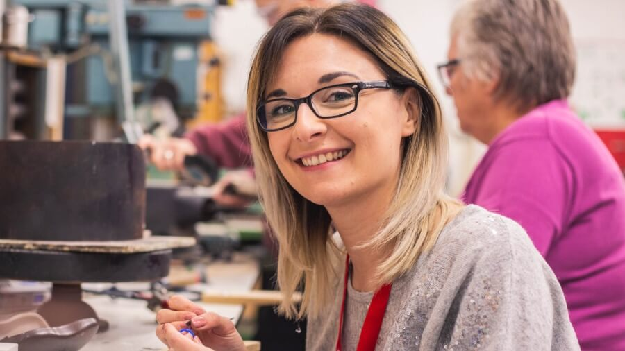 A female part-time Silversmithing student