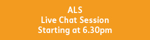 yellow button with white text that reads, ALS live chat session, starting at 6pm