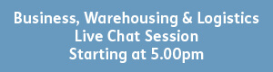 blue button with white text that reads - business, warehousing and logistics, live chat session, starting 5pm