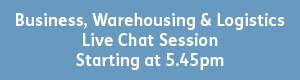 blue button with white text that reads - business, warehousing and logistics, live chat session, starting 5:45pm