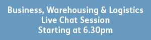 blue button with white text that reads - business, warehousing and logistics, live chat session, starting 6;45pm.pm