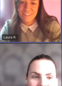 Keely and Laura talking to students via Microsoft Teams.
