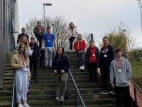 Public Services students climbing steps