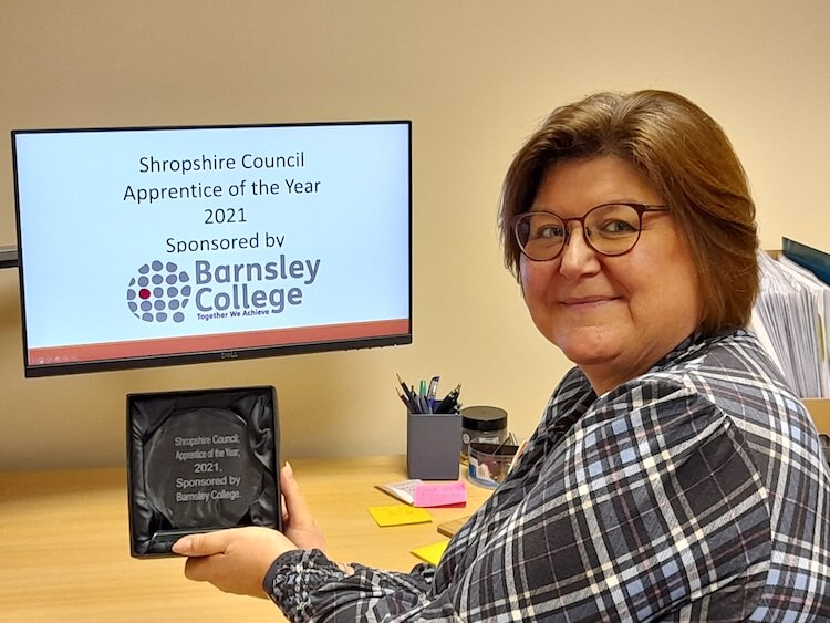 Karen Roberts with Shropshire Council Apprentice of The Year Award 2021