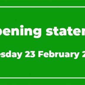 Reopening statement news image