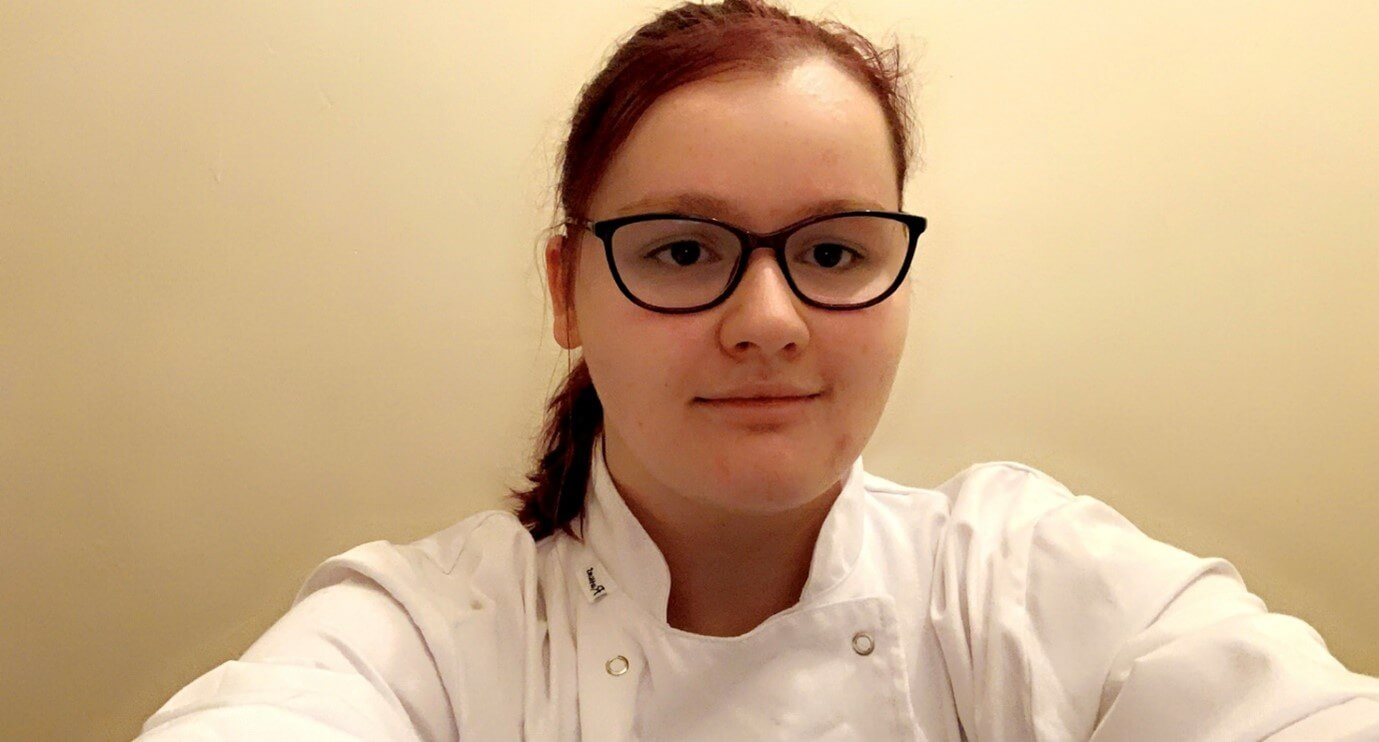 Student Jessica Steele in her chef whites.