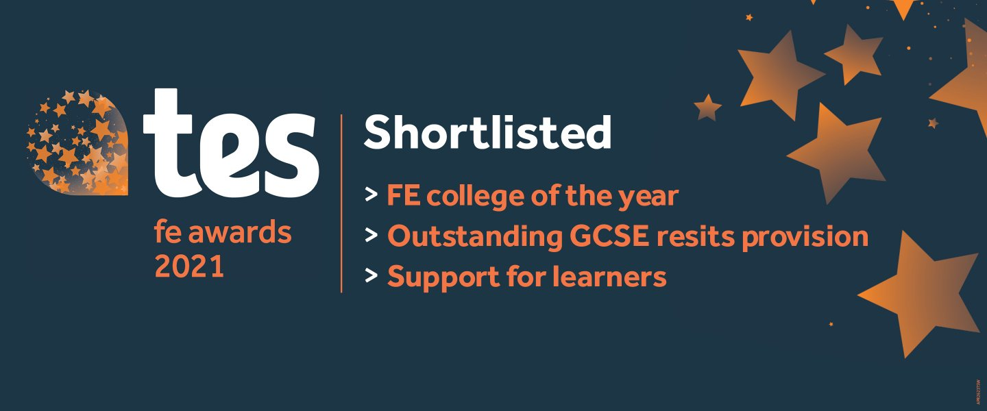 white and orange writing on a blue background that reads, TES FE Awards 2021, shortlisted: FE college of the year, outstanding GCSE resit provision, support for learners