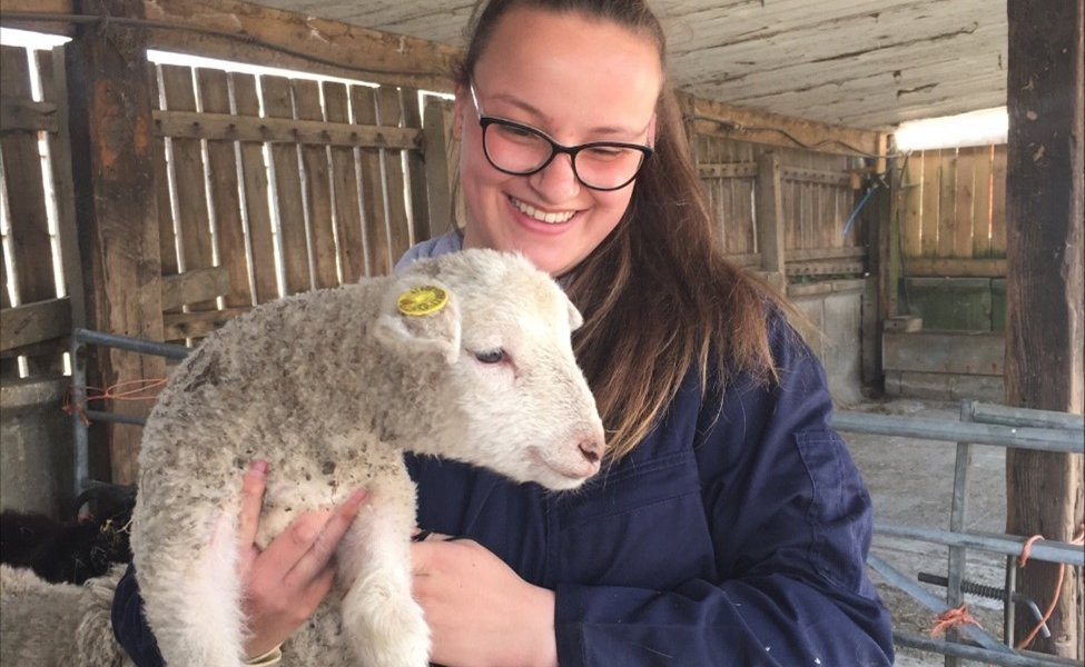 Maisie Wright with a lamb at Wigfield Farm.