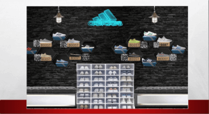 A mock-up of a retail window display, with several pairs of trainers and a neon 'adidas' sign
